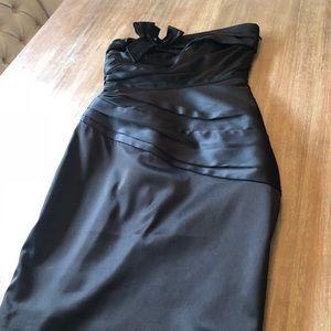 Black strapless pleated dress